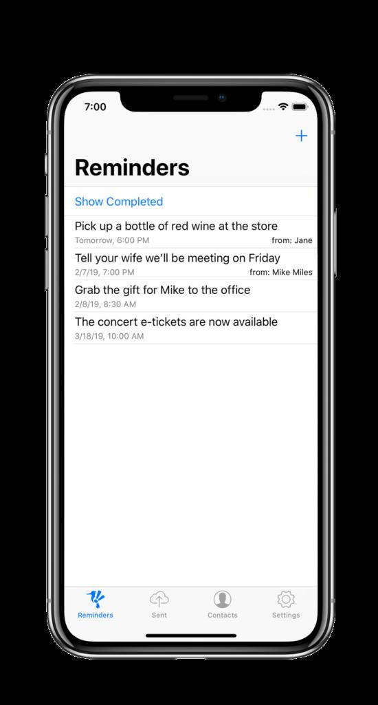 RemMe App main screen