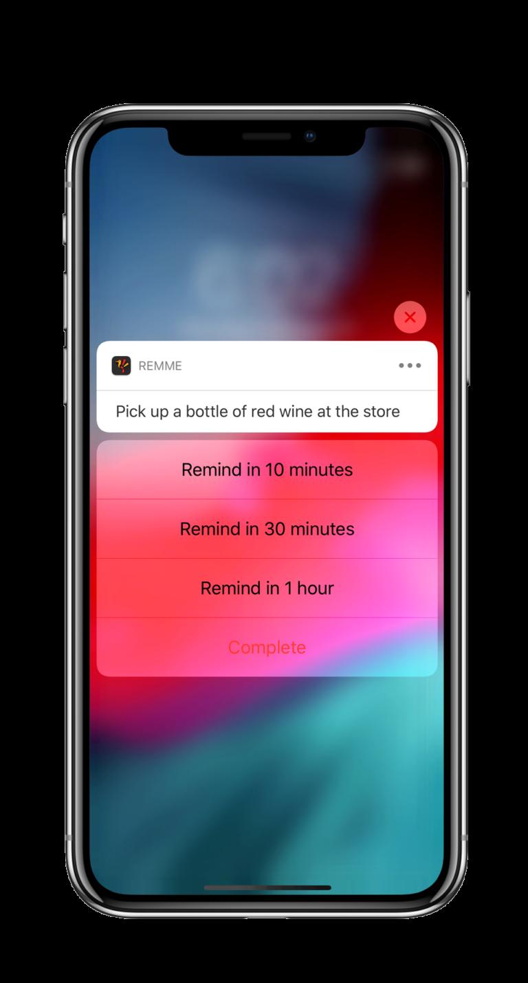 RemMe app home screen